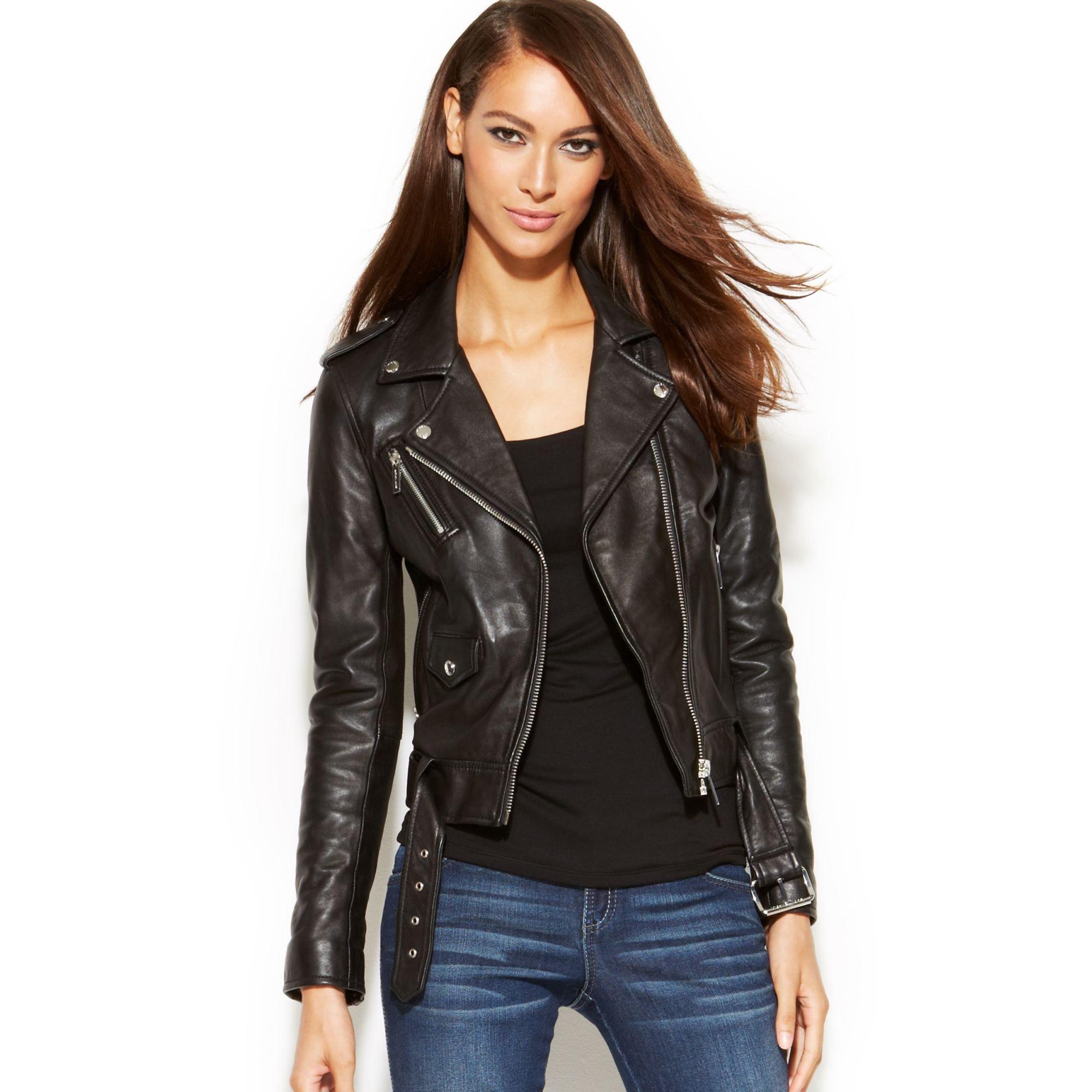 buy popular get online top-rated latest Michael Kors Black Michael Cropped Leather Moto Jacket