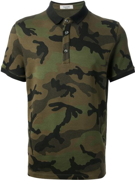 valentino camouflage print polo shirt in multicolor for men green. Black Bedroom Furniture Sets. Home Design Ideas