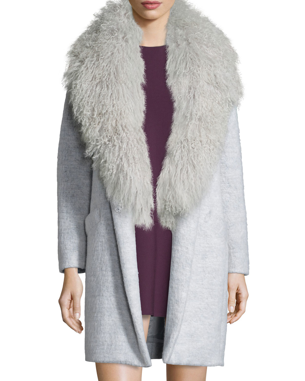 Elizabeth and james Iris Oversized Fur-collar Long Coat in Gray   Lyst