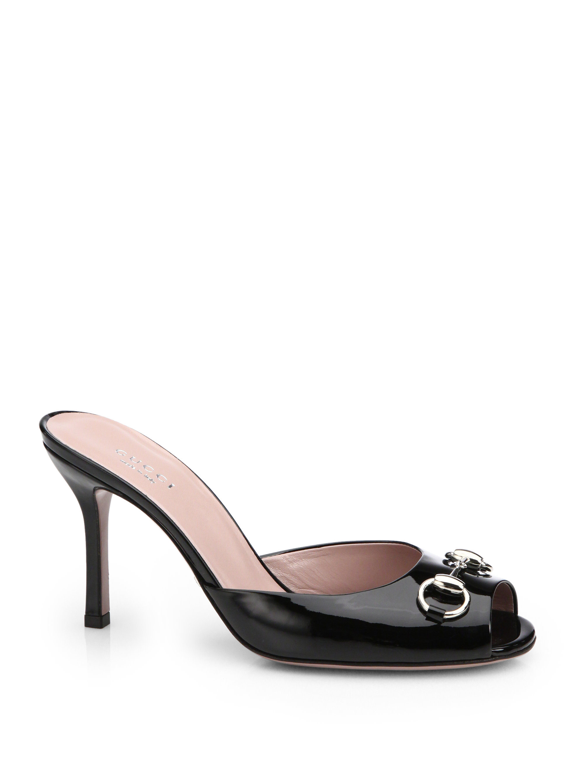 Lyst - Gucci Jolene Leather Mule Sandals in Black bd05100e88