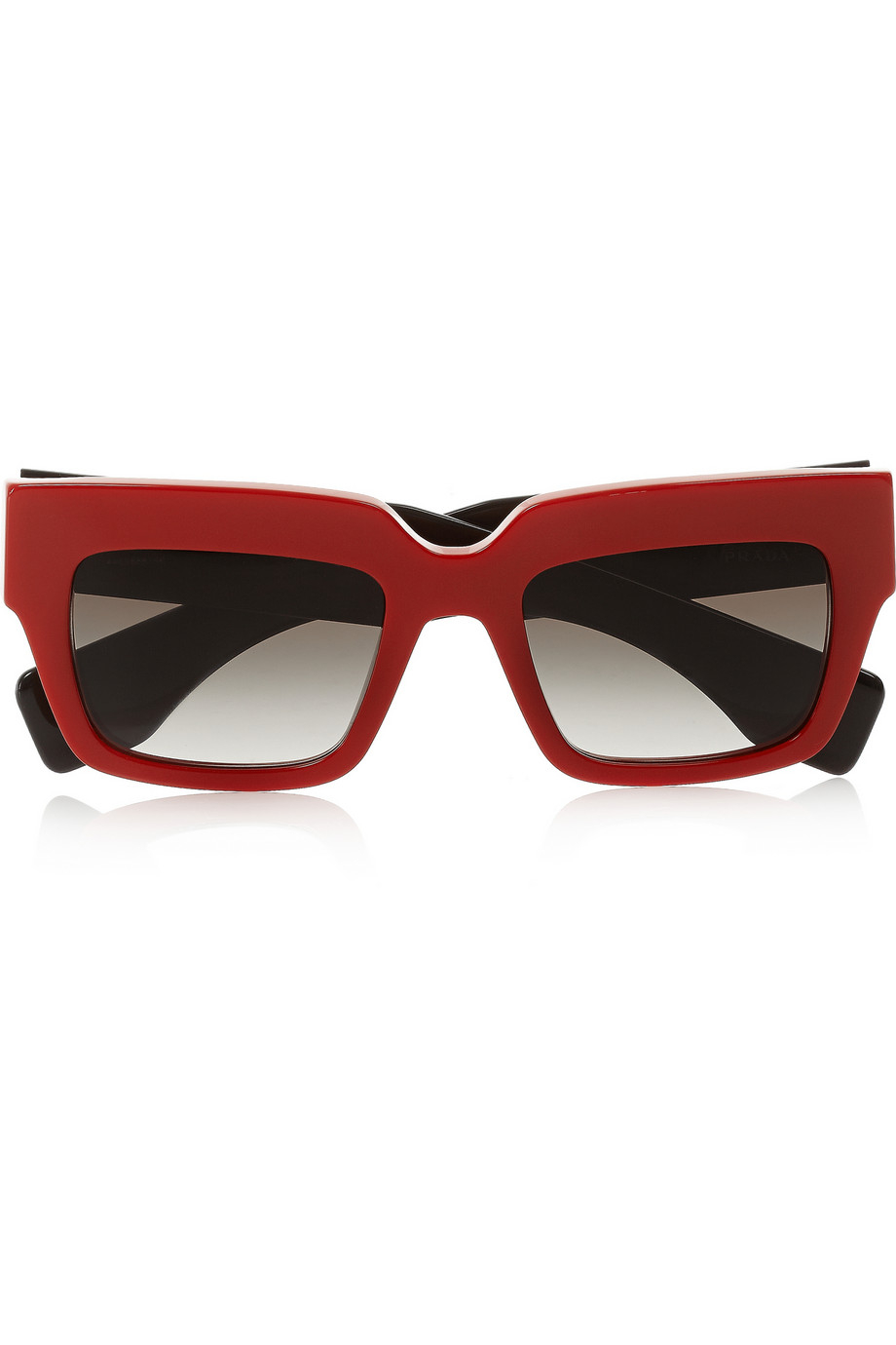 Prada Red Frame Glasses : Prada Square-Frame Acetate Sunglasses in Black Lyst