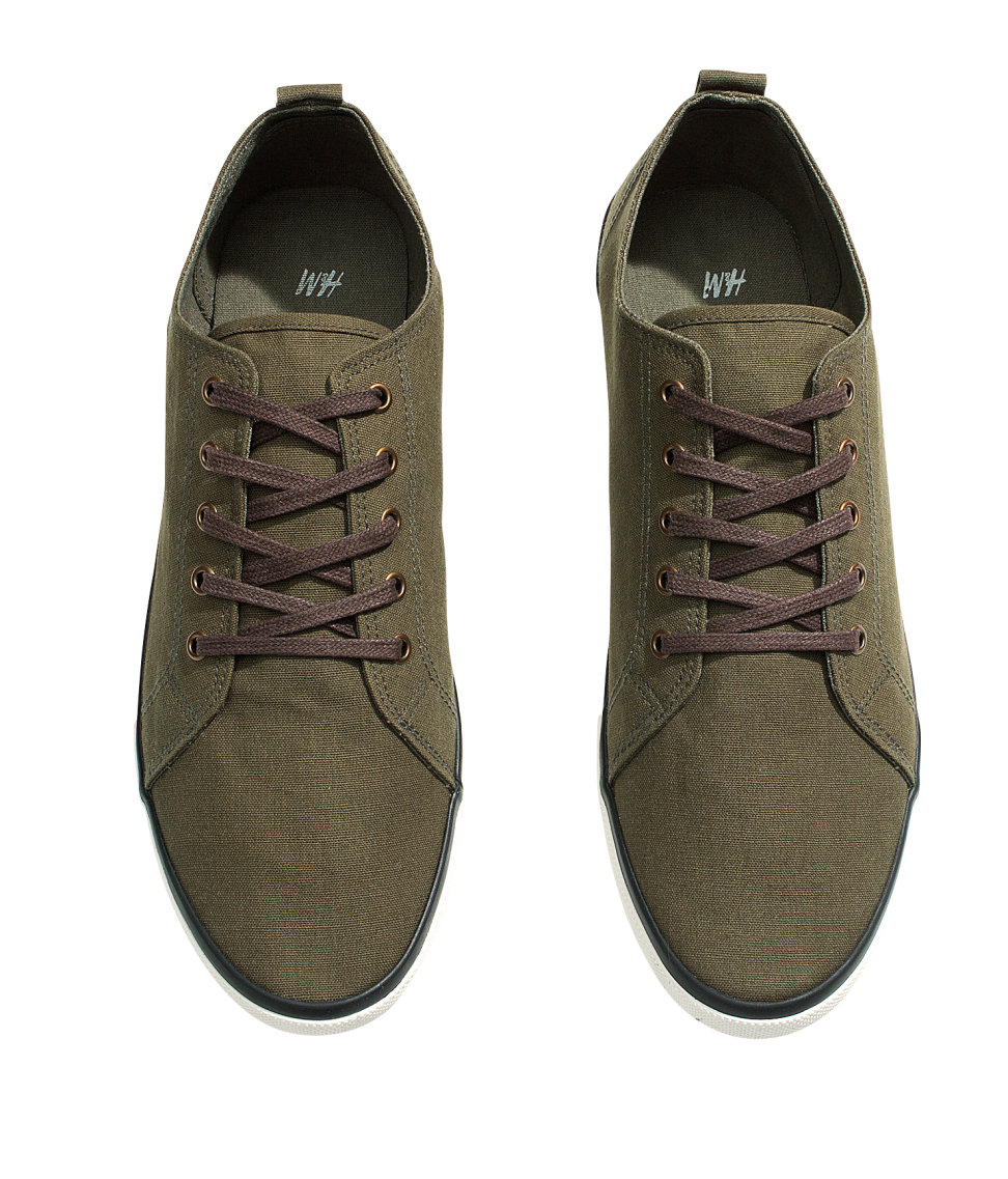 h m canvas sneakers in green for lyst
