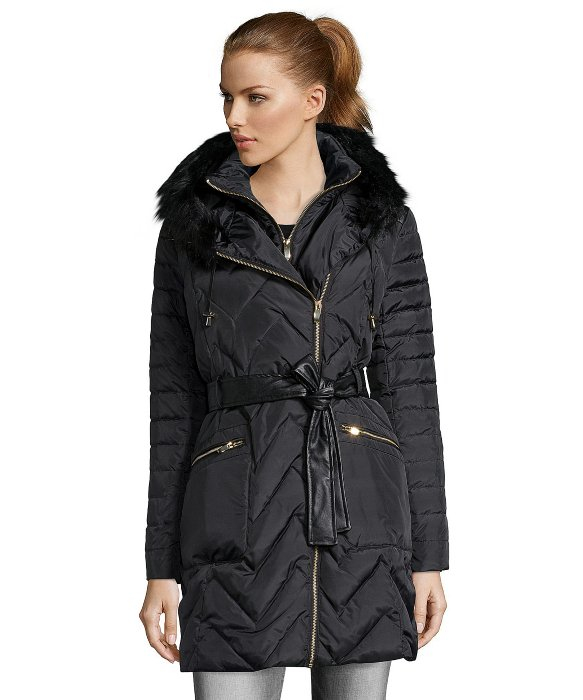 Via Spiga Black Quilted Faux Fur Trim Hooded 3 4 Length