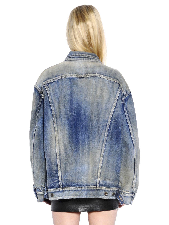 672c8eeebc Saint Laurent Oversize Washed Cotton Denim Jacket in Blue - Lyst
