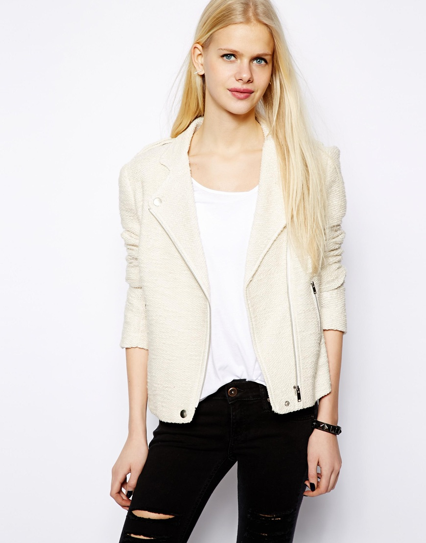 Lyst - Mango Tweed Biker Jacket in Natural 9b3ccd833a50