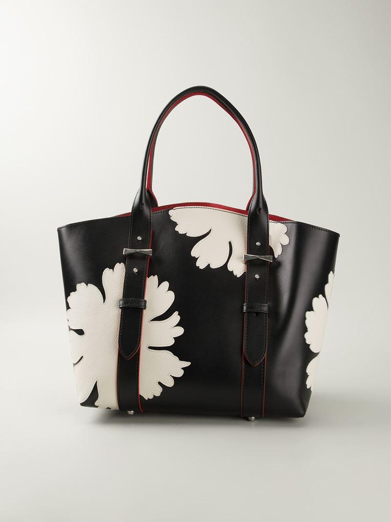 Alexander McQueen 'Legend' Lotus Flower Shopper Tote in Black