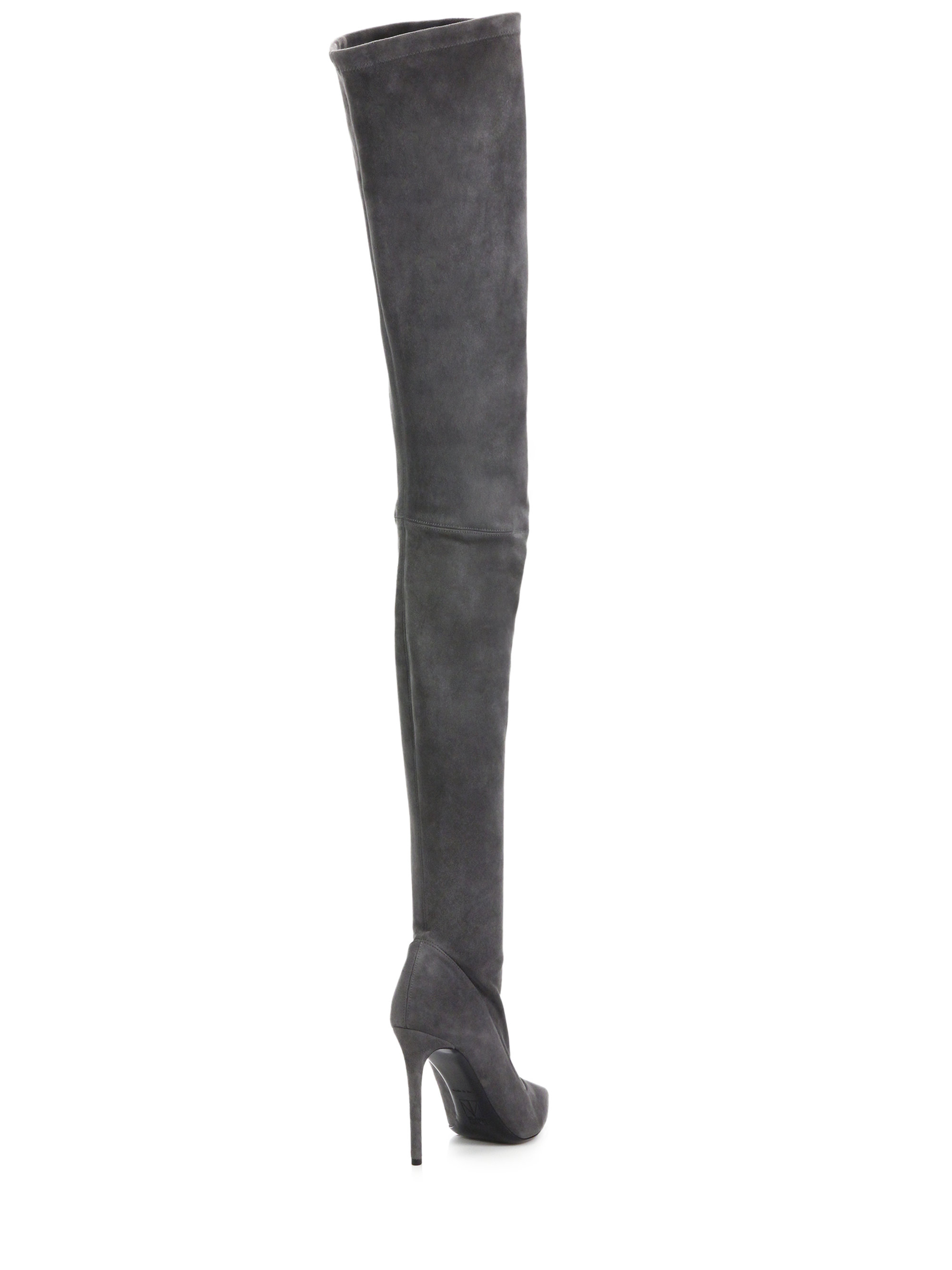 Tamara mellon Trouble Thigh-high Suede Boots in Gray | Lyst