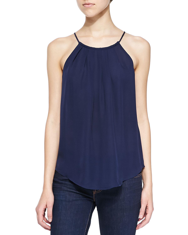 Joie Amary Silk Halter-neck Tank in Blue | Lyst