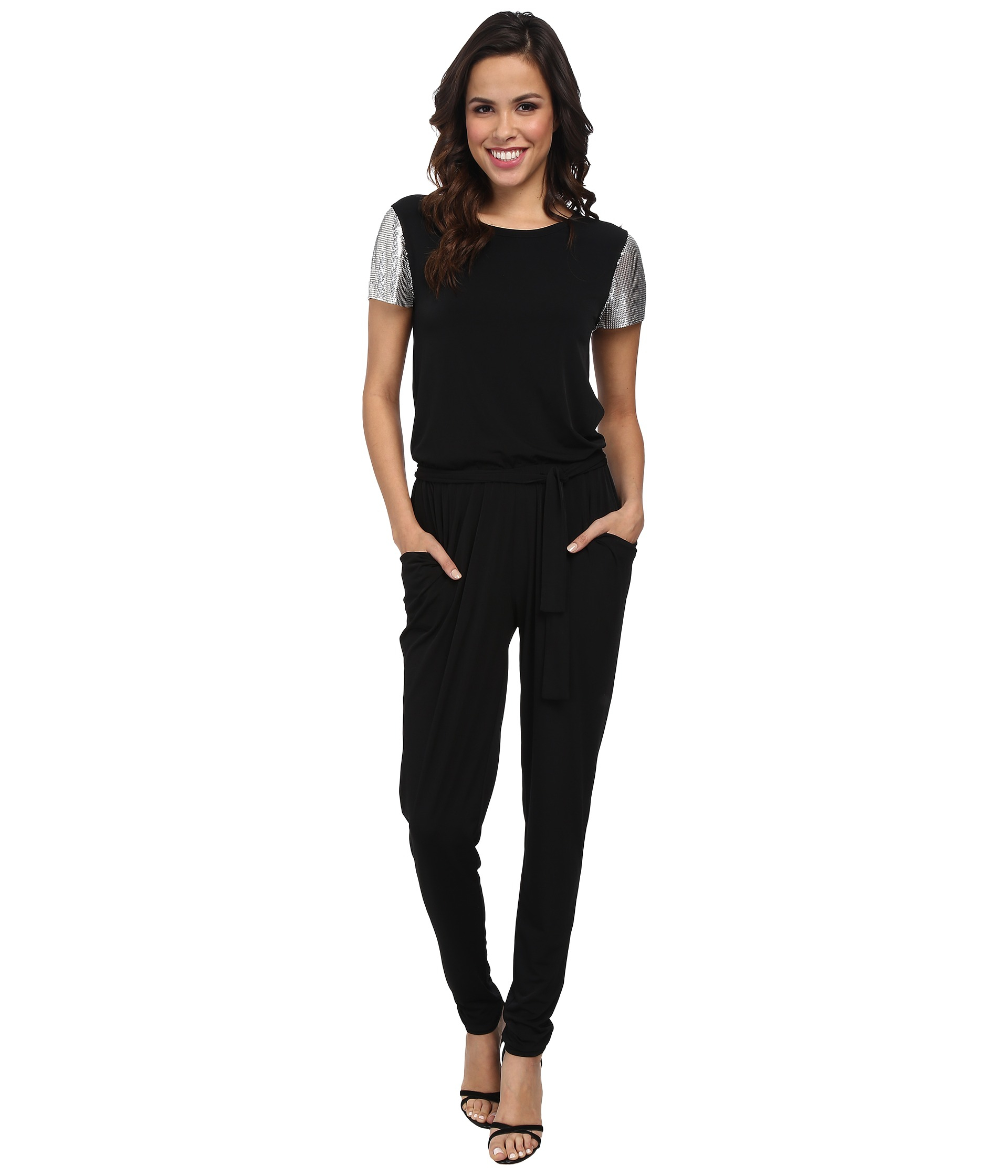 michael michael kors short sleeve chain mesh sleeve jumpsuit in black lyst. Black Bedroom Furniture Sets. Home Design Ideas