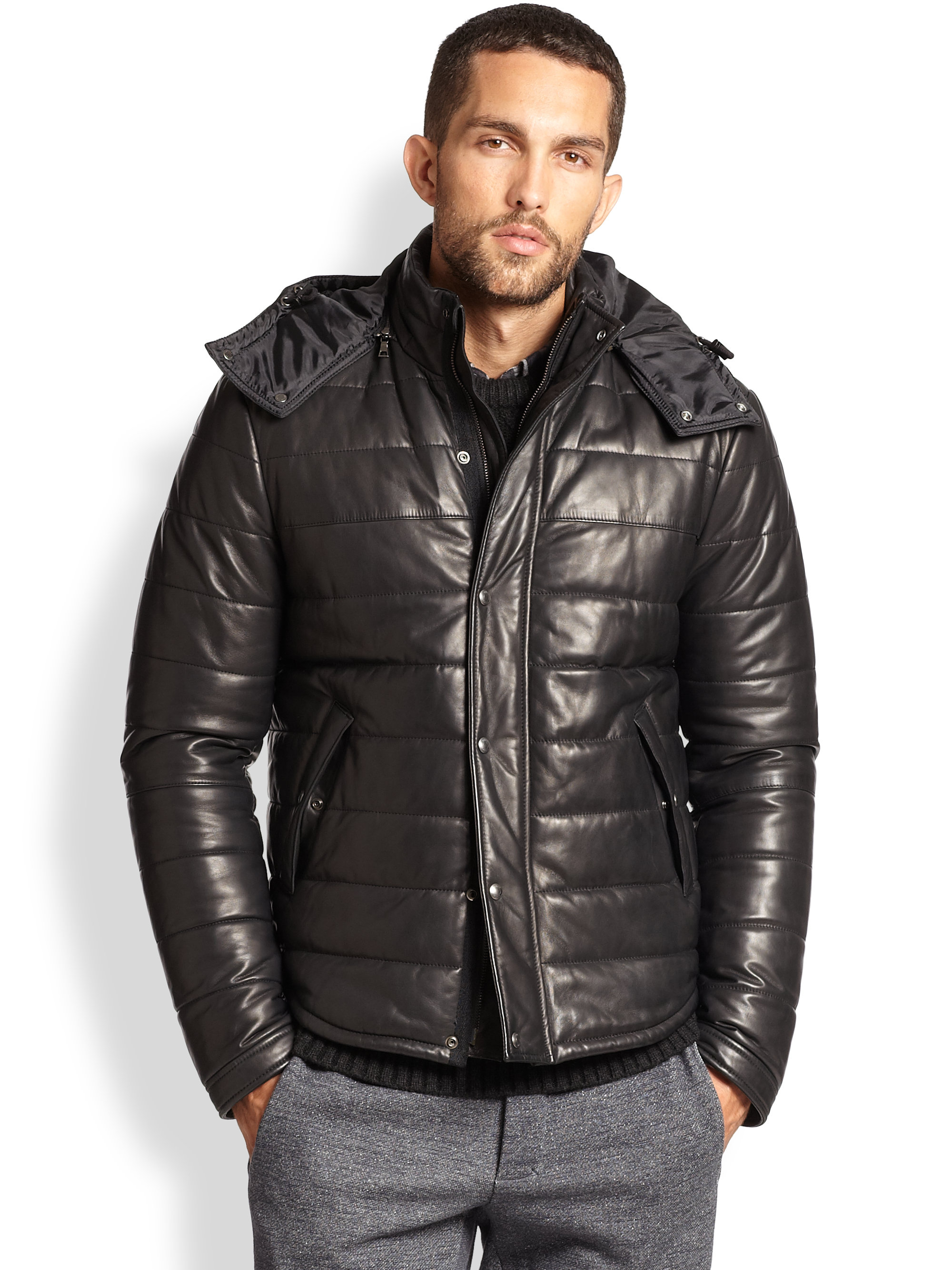 Vince Quilted Leather Puffer Jacket In Black For Men Lyst