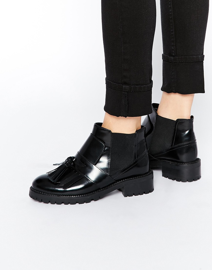 Asos All Or Nothing Leather Fringed Ankle Boots in Black | Lyst
