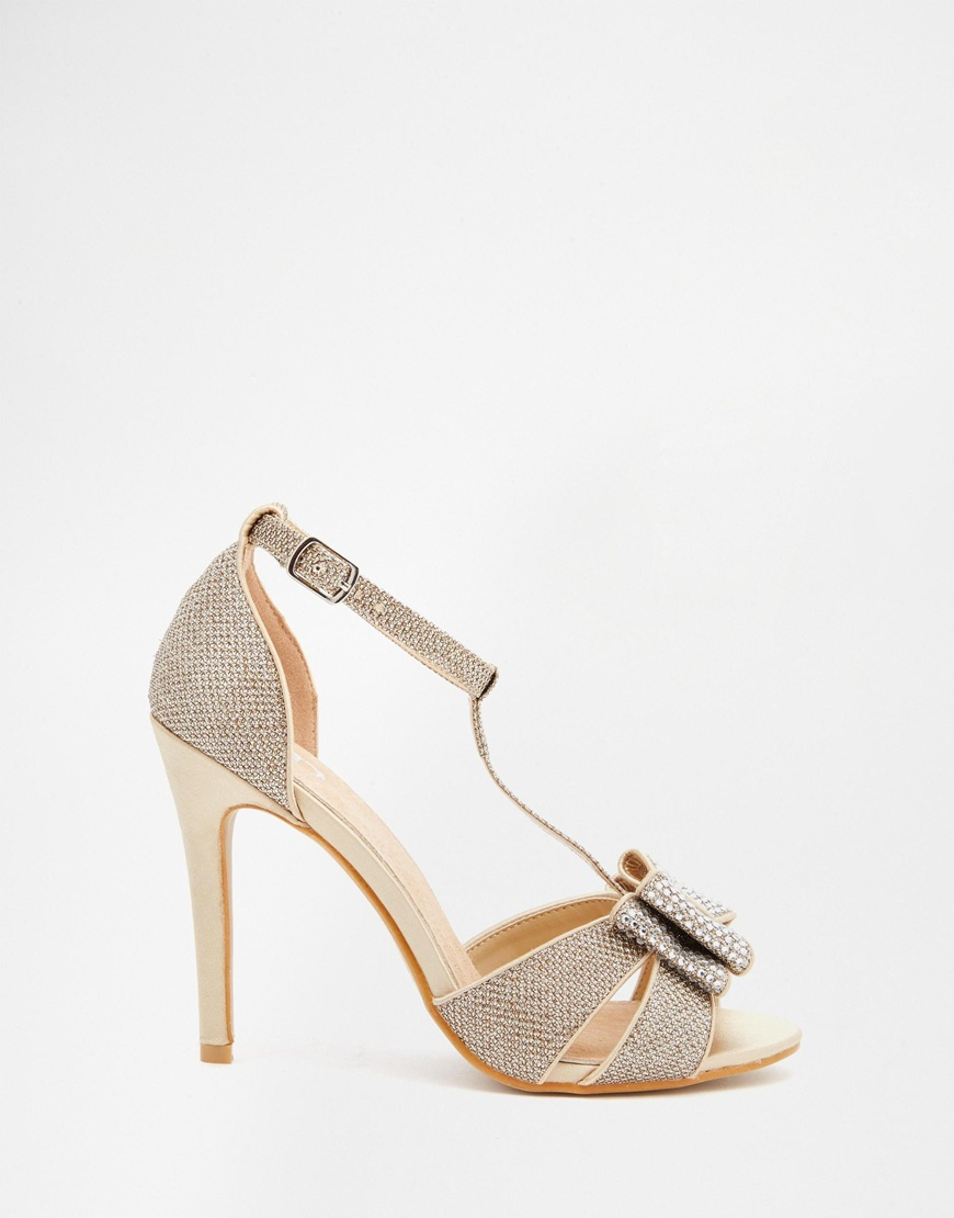 7b4e73d79e9f True Decadence Gold Glitter Bow Detail Heeled Sandals in Natural - Lyst