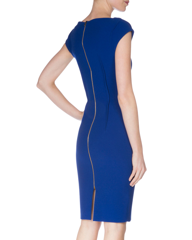Lyst Roland Mouret Cap Sleeve V Neck Sheath Dress In Blue