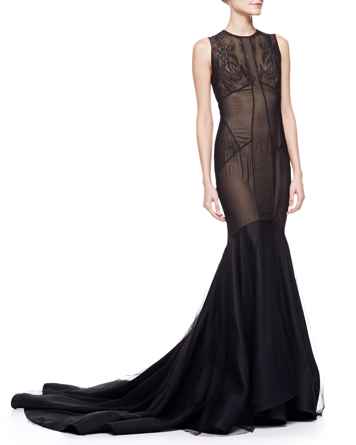 Lyst - Jason Wu Lace Tulle Trumpet Gown with Train in Black