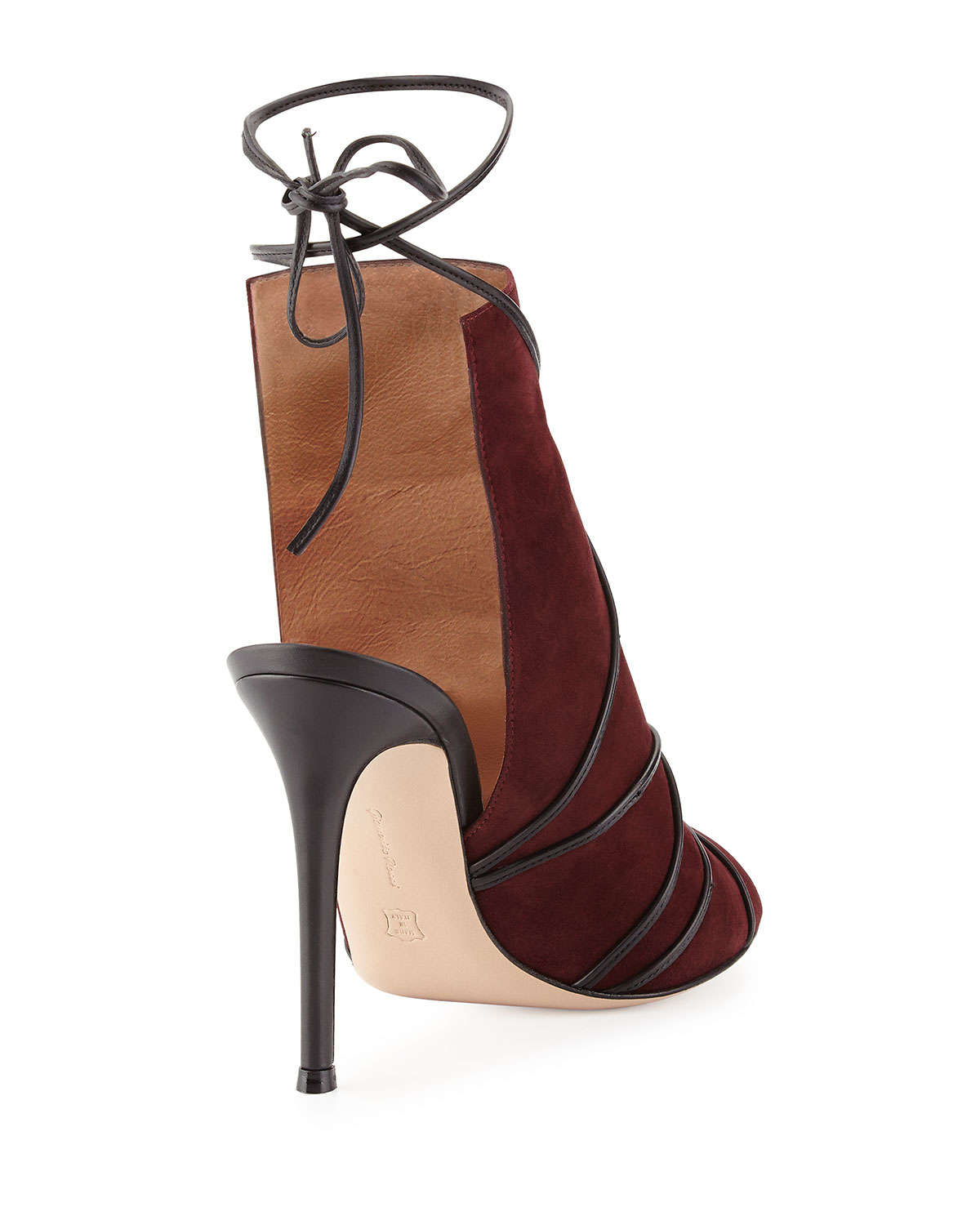 Gianvito rossi Suede Open-Toe Ankle-Tie Bootie in Red | Lyst