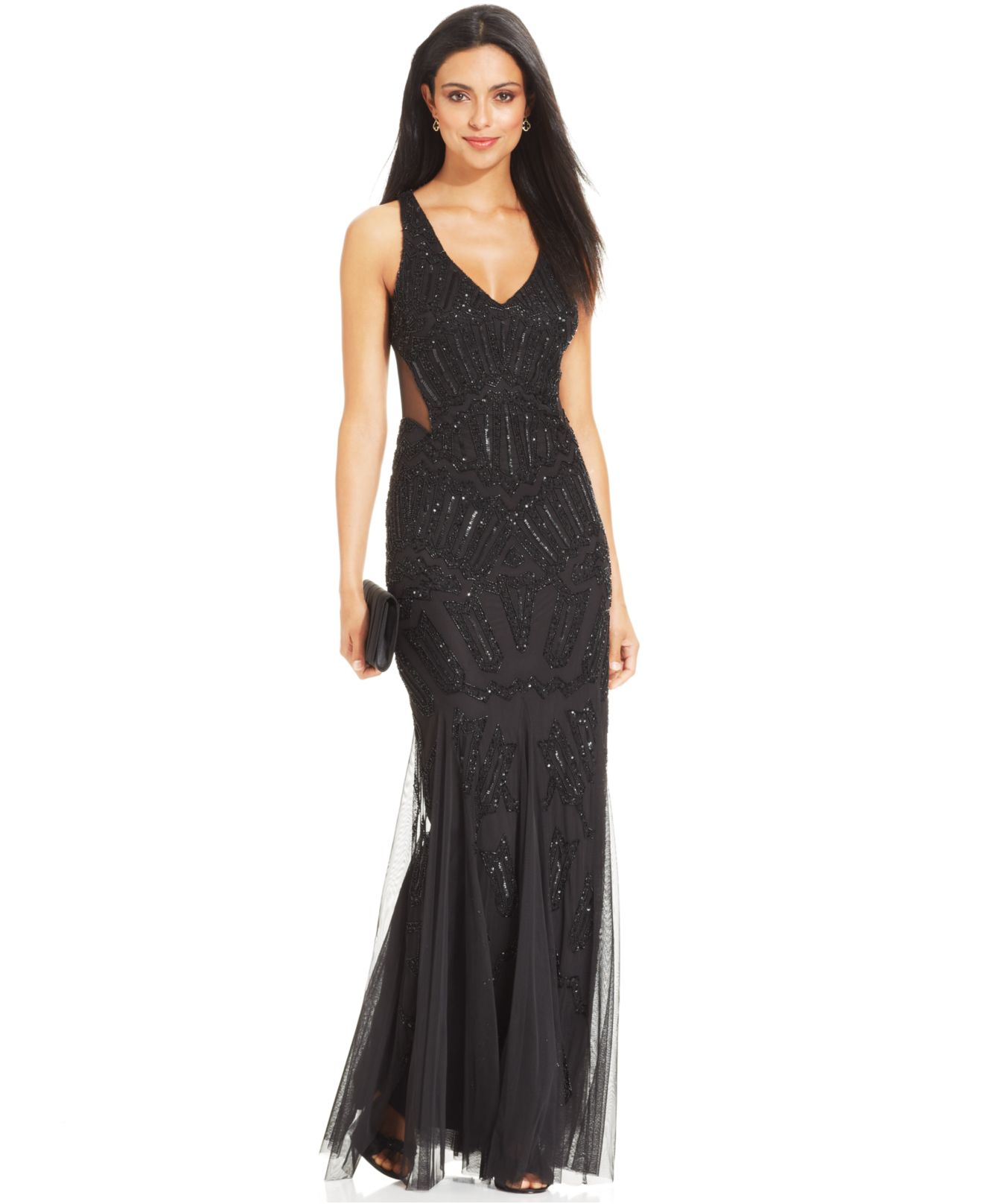 Lyst - Adrianna Papell Sleeveless Beaded Mermaid Gown in Black
