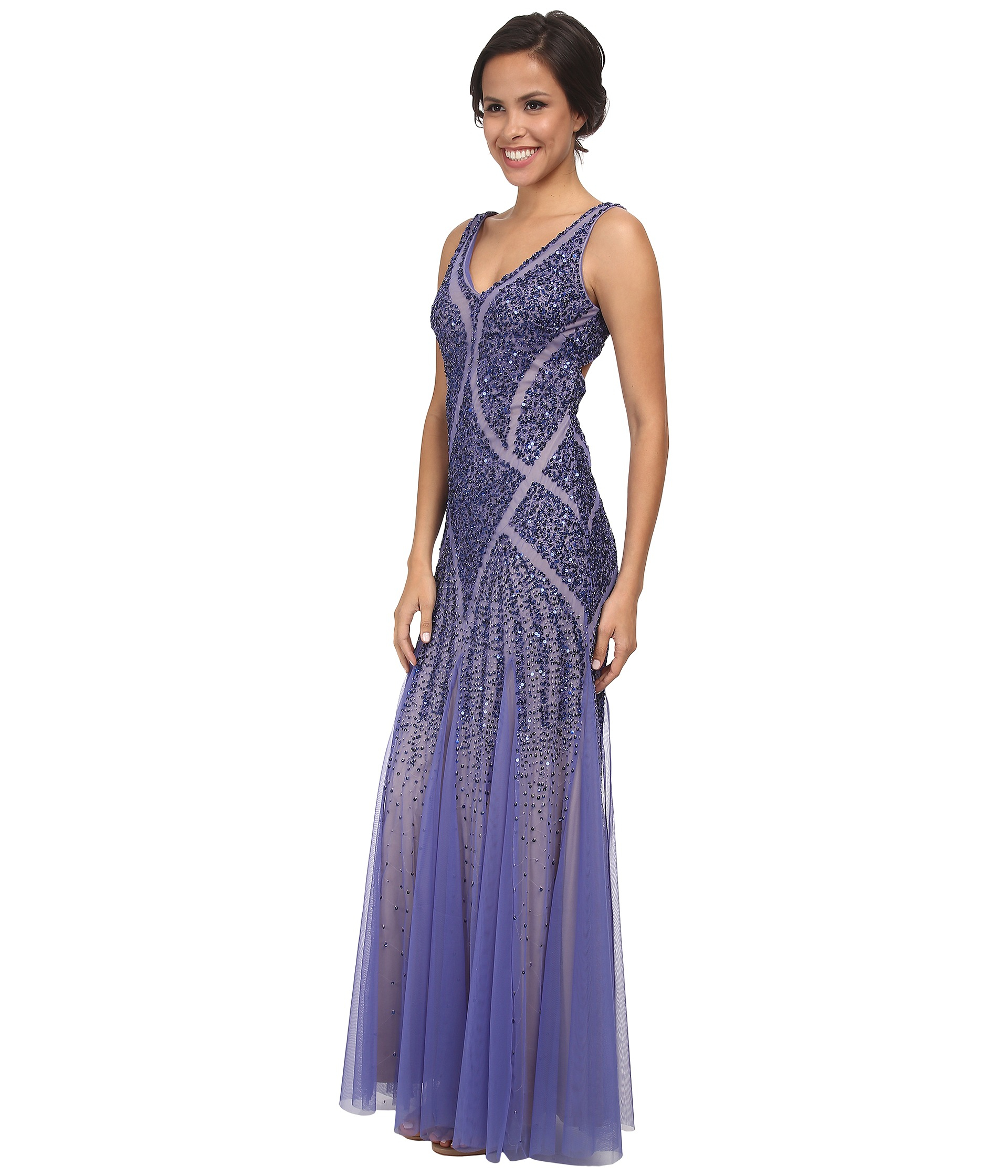 Lyst - Adrianna Papell Beaded V-neck Mermaid Gown in Purple