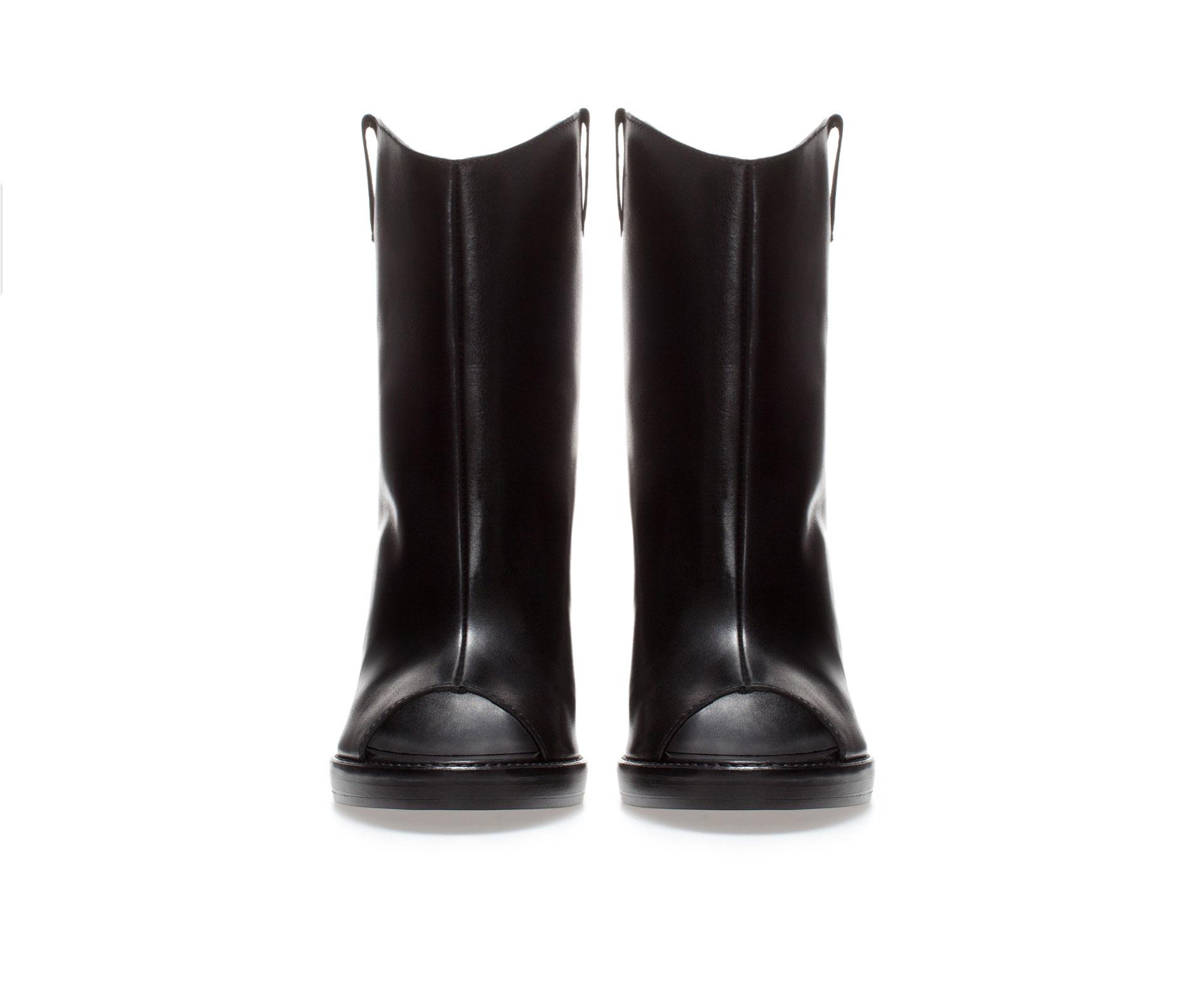 zara high heel leather peep toe ankle boot in black lyst
