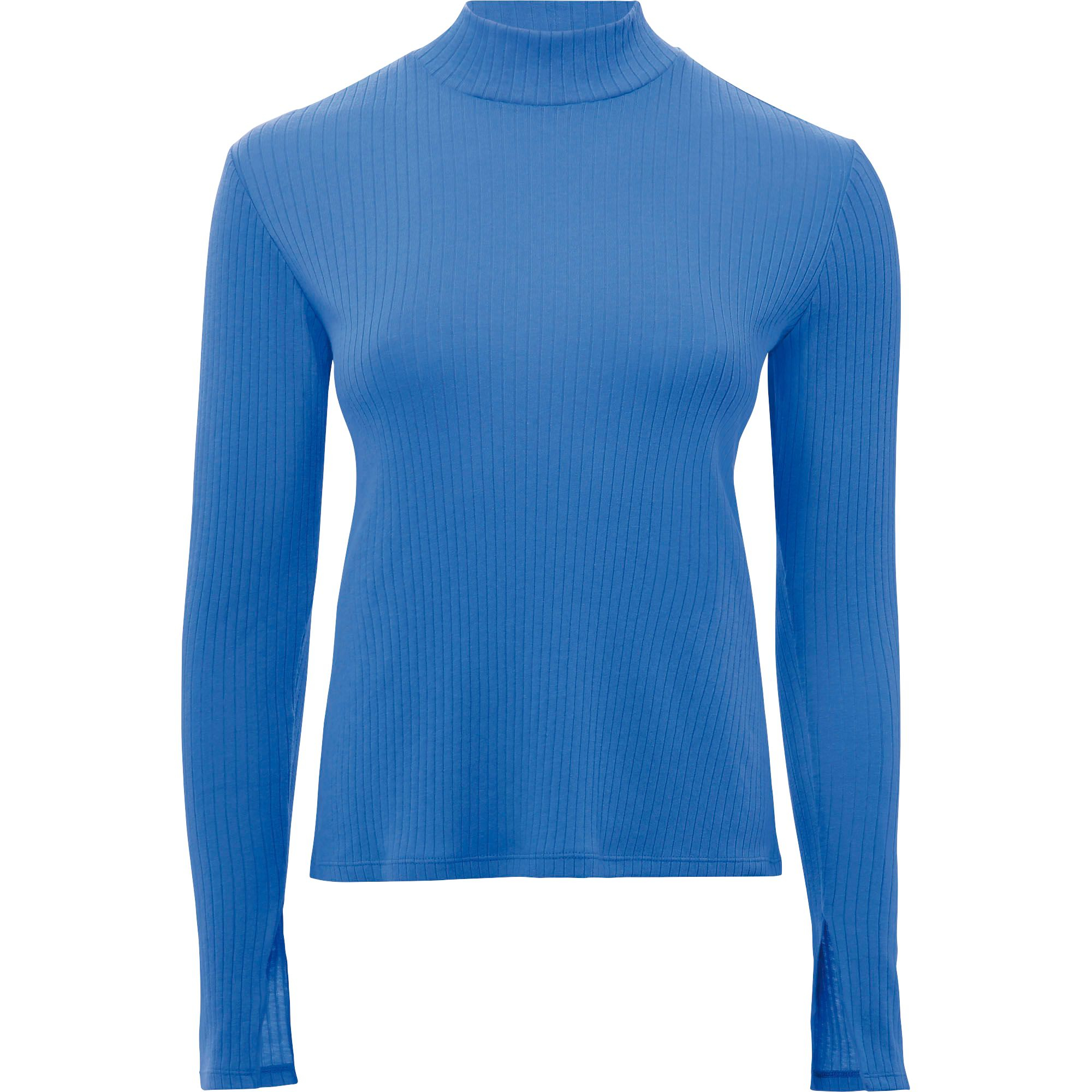 Uniqlo women 39 s wide ribbed long sleeve t shirt in blue lyst for Ribbed long sleeve shirt
