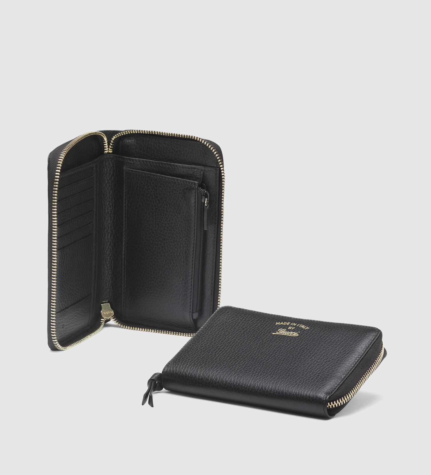 7a5d6c2befab Gucci Swing Leather Zip Around Wallet in Black - Lyst