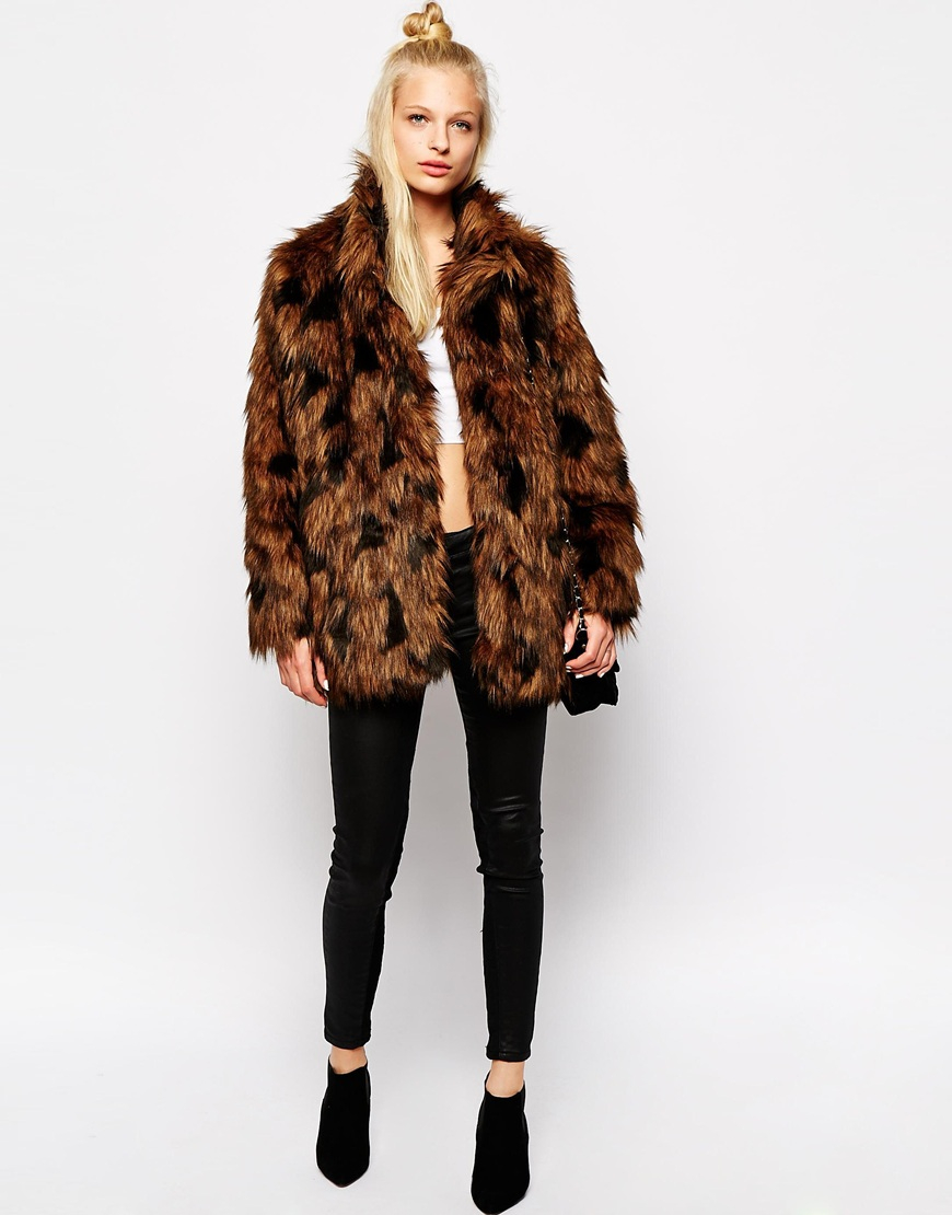 Monki Faux Fur Coat in Brown | Lyst