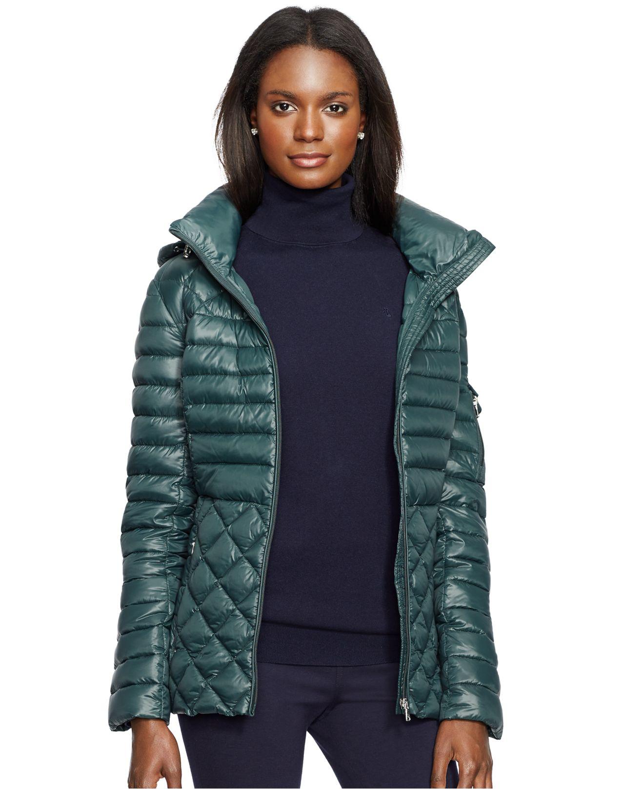 Lyst - Lauren By Ralph Lauren Quilted Puffer Jacket in Green