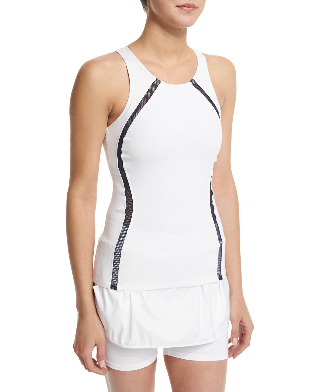 heroine sport studio mesh panel athletic tank top in white white w navy lyst. Black Bedroom Furniture Sets. Home Design Ideas