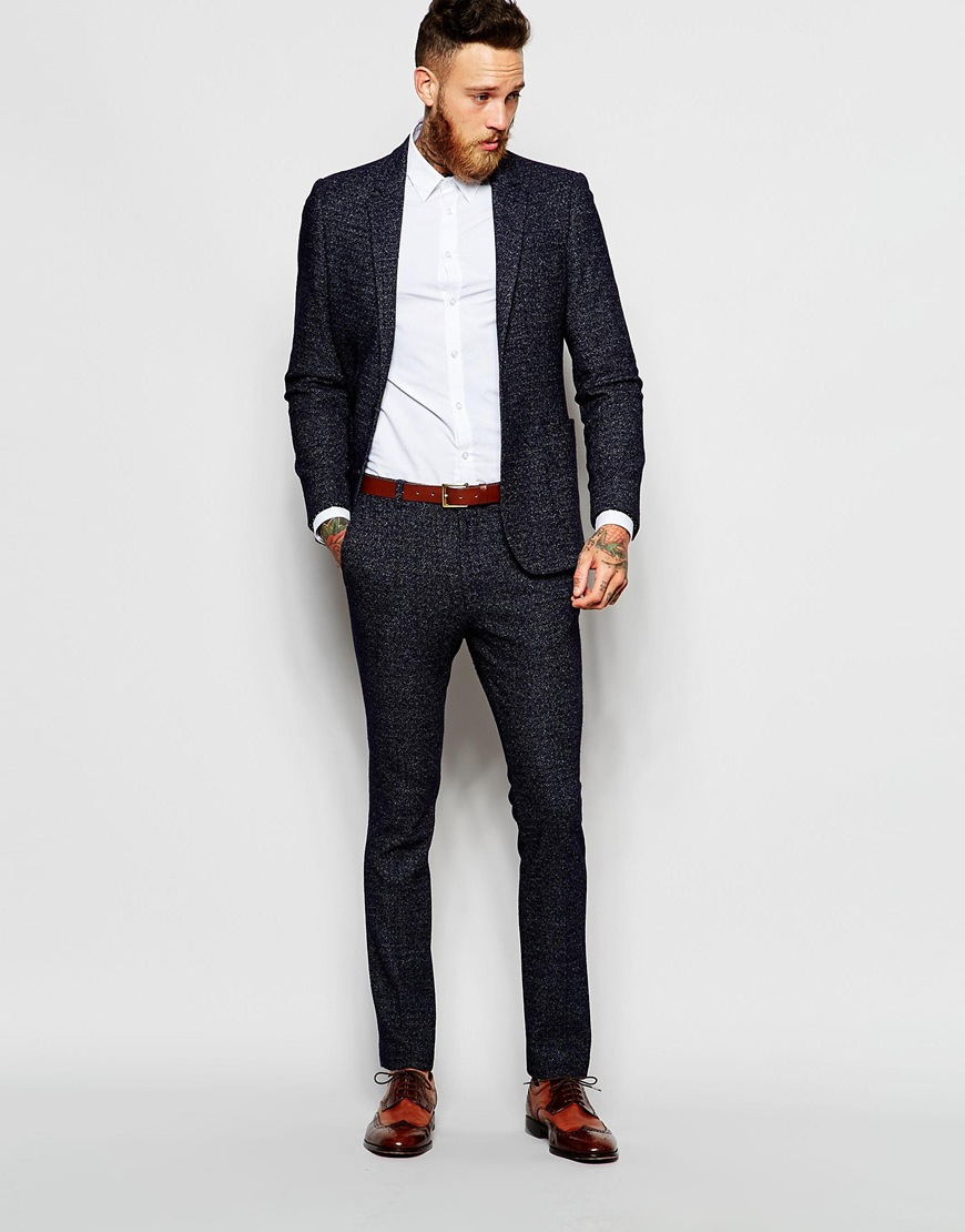 Asos Skinny Suit Jacket In Neppy Jersey in Blue for Men | Lyst