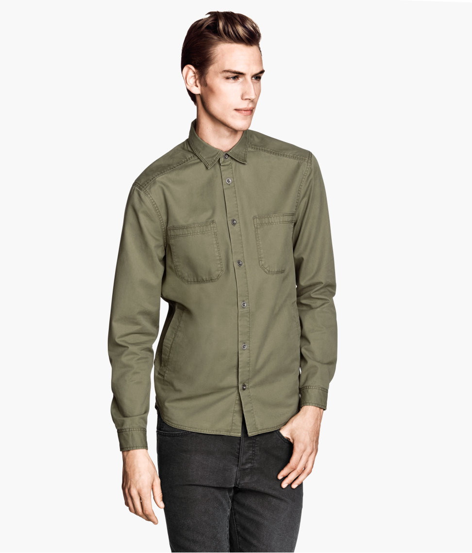 Khaki Green Shirt Mens | Is Shirt