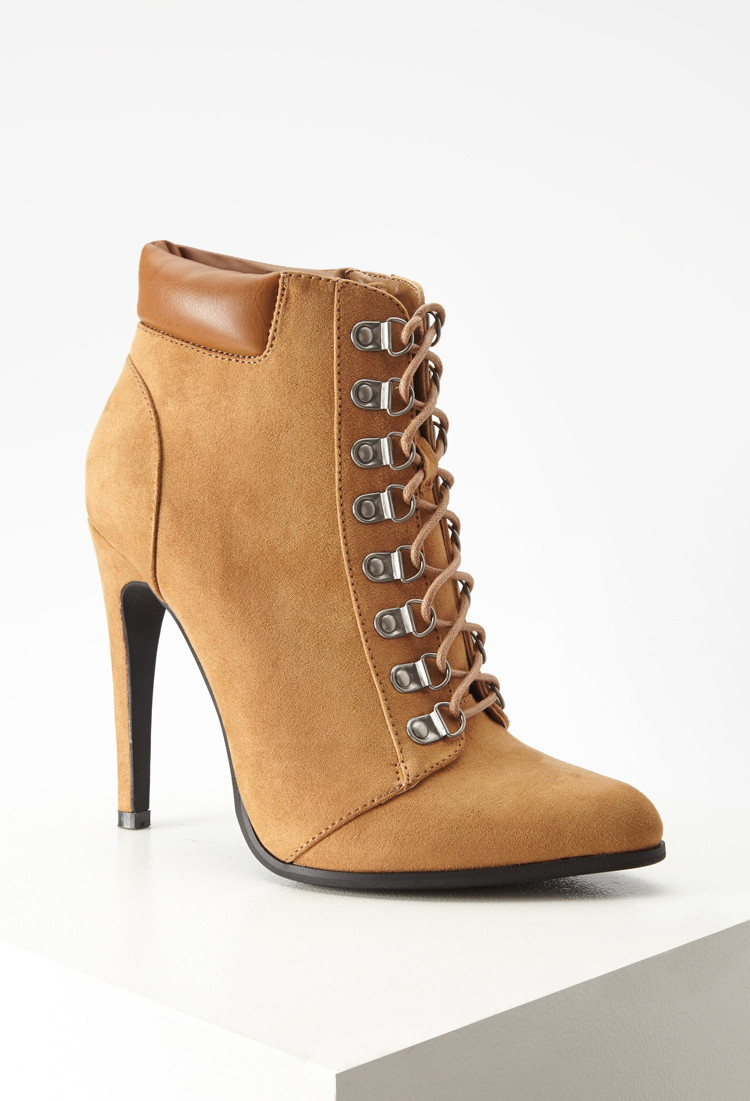 Forever 21 Faux Suede Lace-up Booties In Brown | Lyst