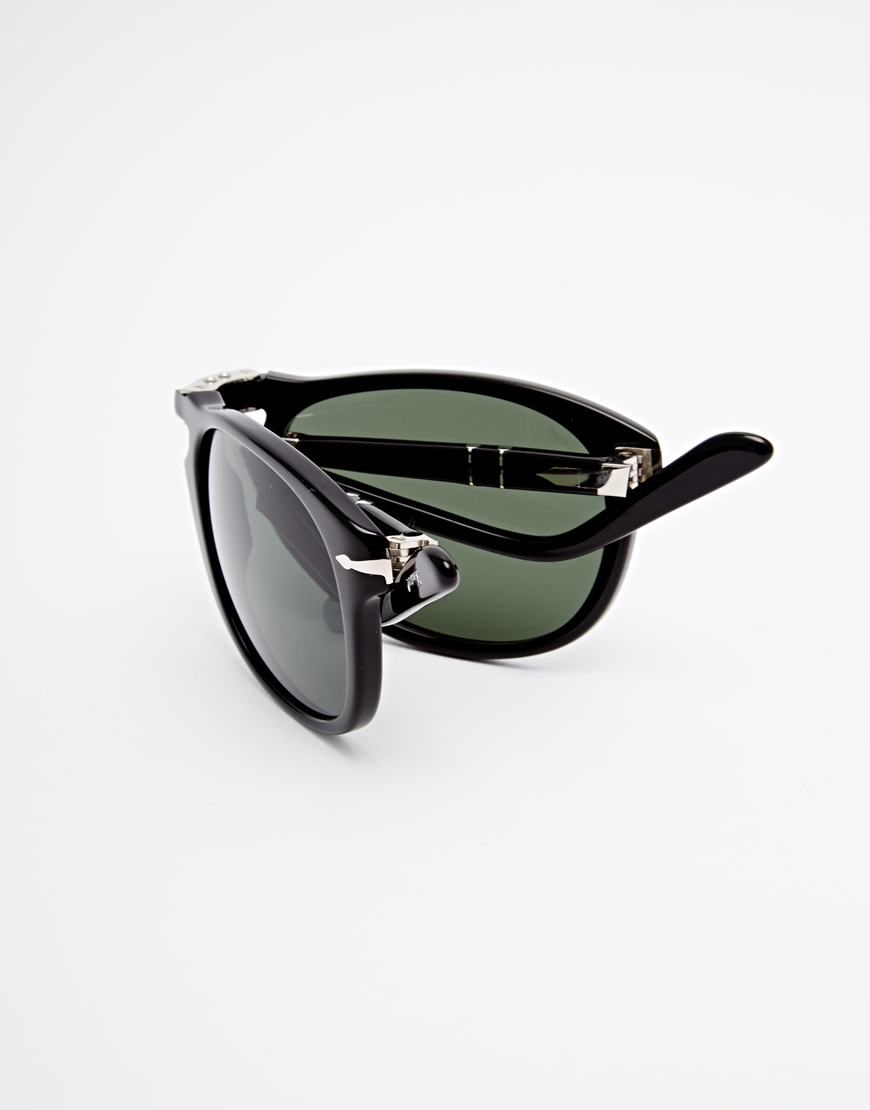 Foldable Sunglass  persol aviator keyhole foldable sunglasses in black for men lyst