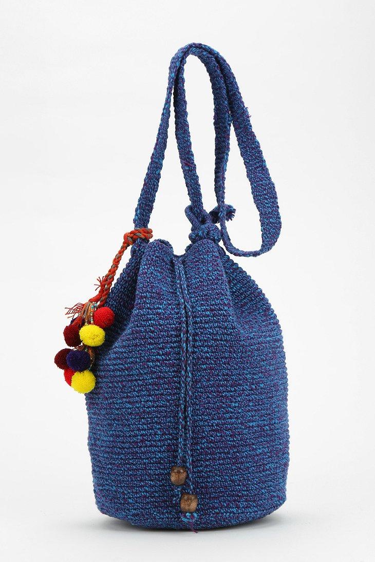 Stela 9 Crochet Beach Bucket Bag in Blue