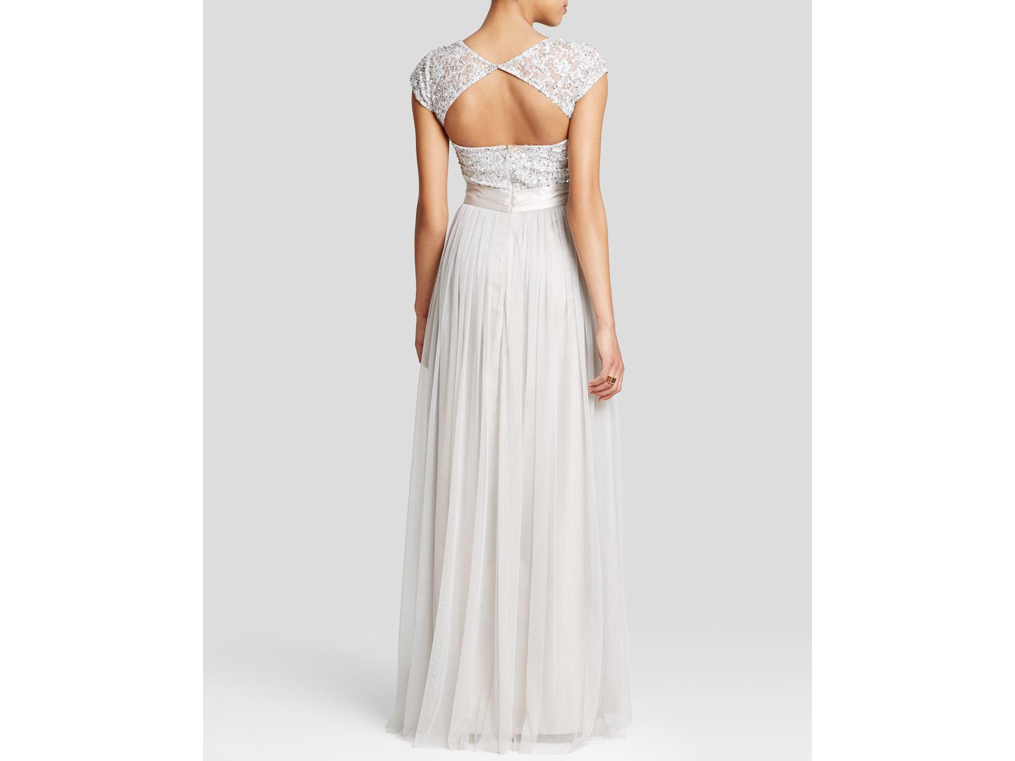 Lyst - Aidan Mattox Gown - Cap Sleeve Belted Lace Bodice & Chiffon ...