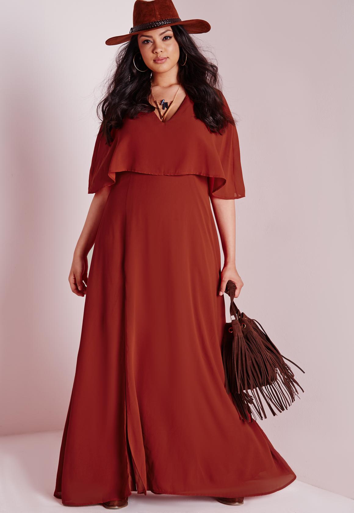 Missguided Plus Size Side Split Maxi Dress Rust in Brown | Lyst