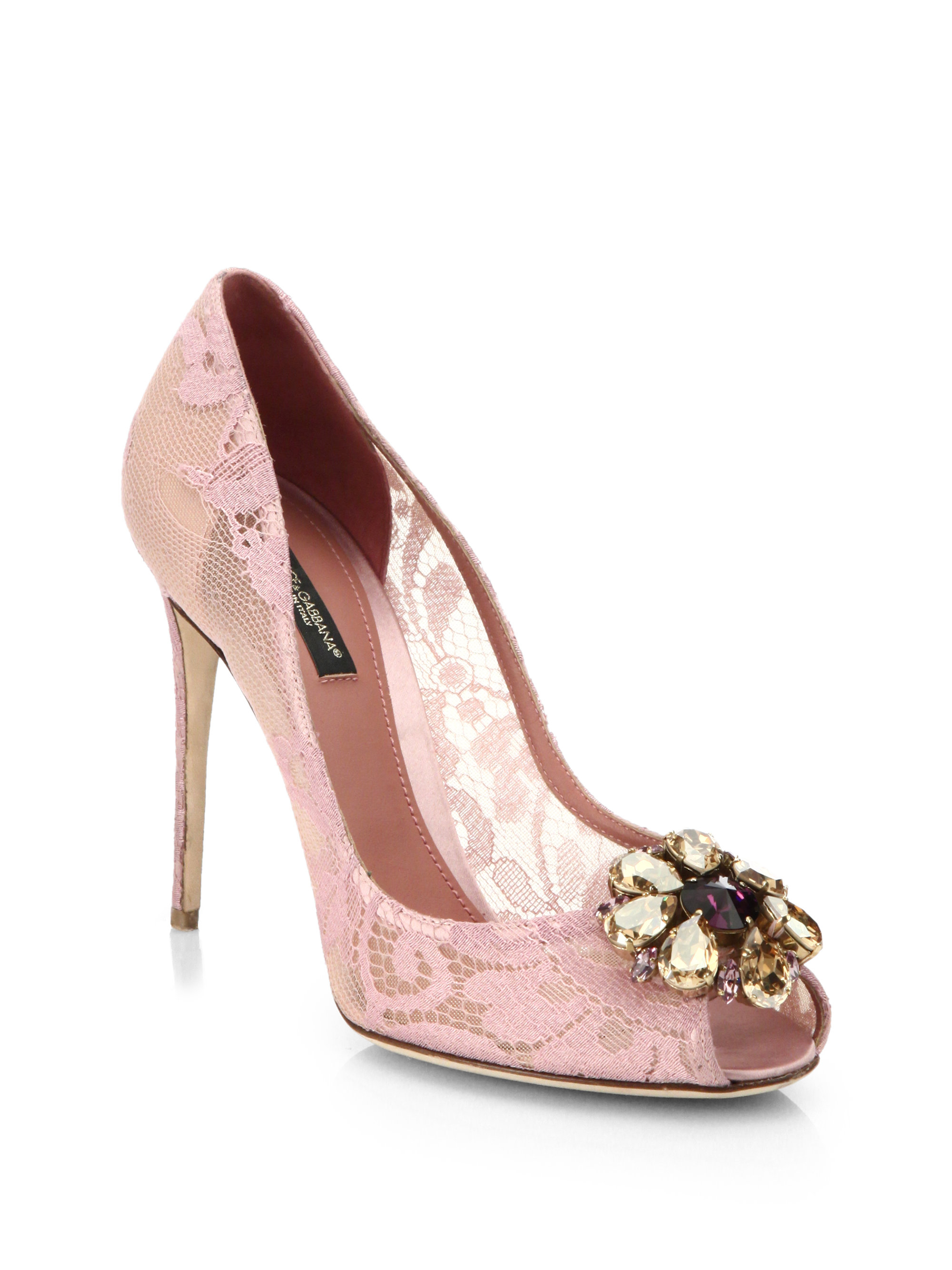 4c893f394db2 Lyst - Dolce   Gabbana Embellished Lace Peep-toe Pumps in Pink