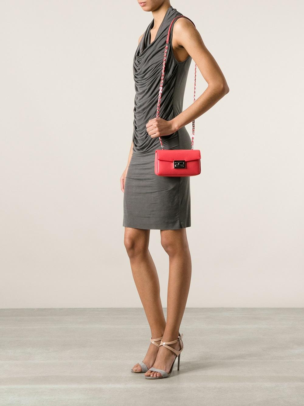 9b8091faf1c7 ... greece lyst fendi mini be baguette shoulder bag in pink 0c83b b6850