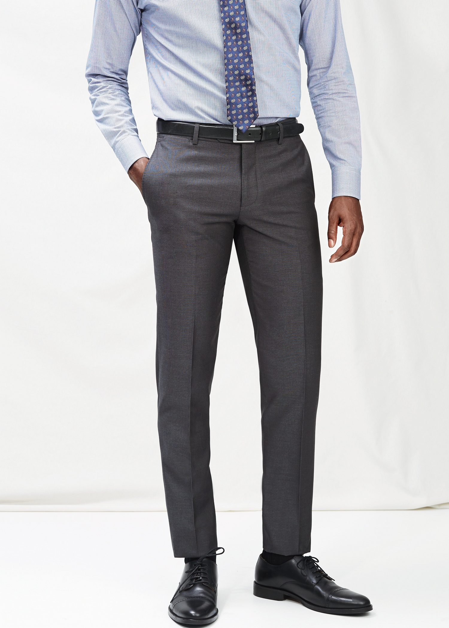 Mango Slim-Fit Suit Trousers in Gray for Men | Lyst