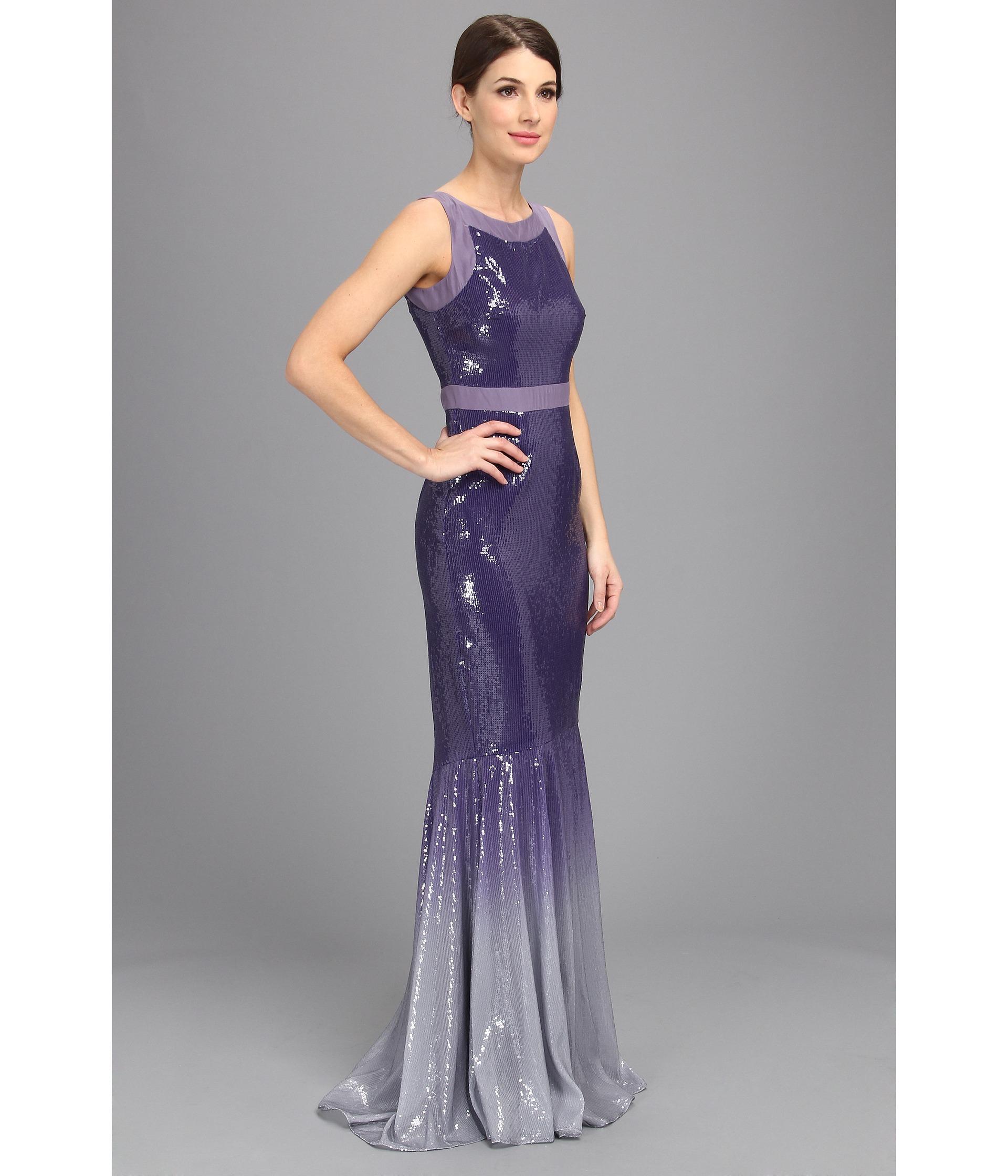 Lyst - Badgley Mischka Ombre Sequin Vneck Gown in Purple