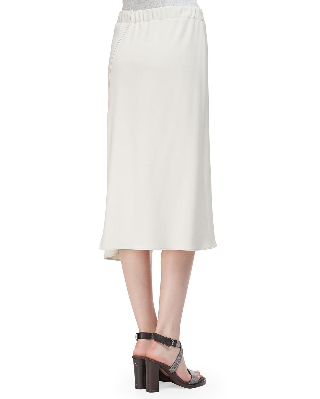 brunello cucinelli asymmetric side slit midi skirt in