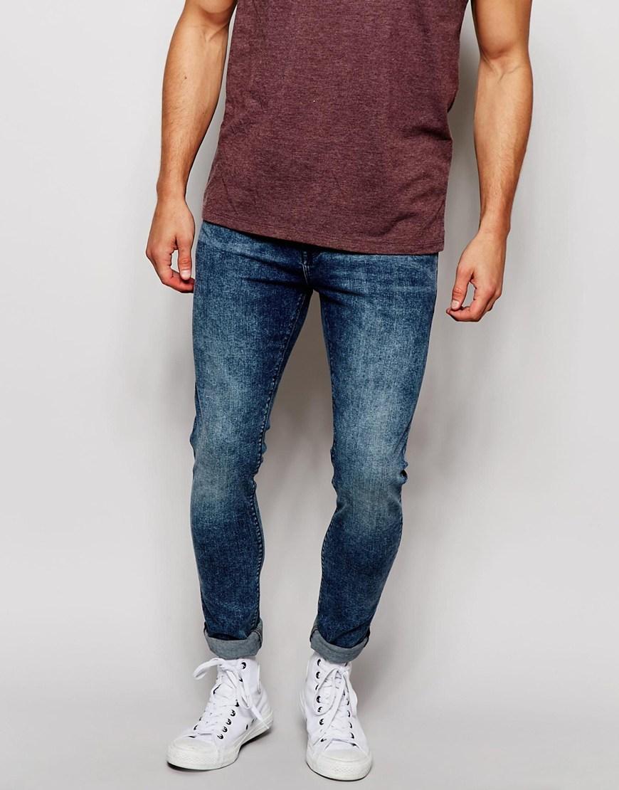 Light blue acid wash super skinny jeans