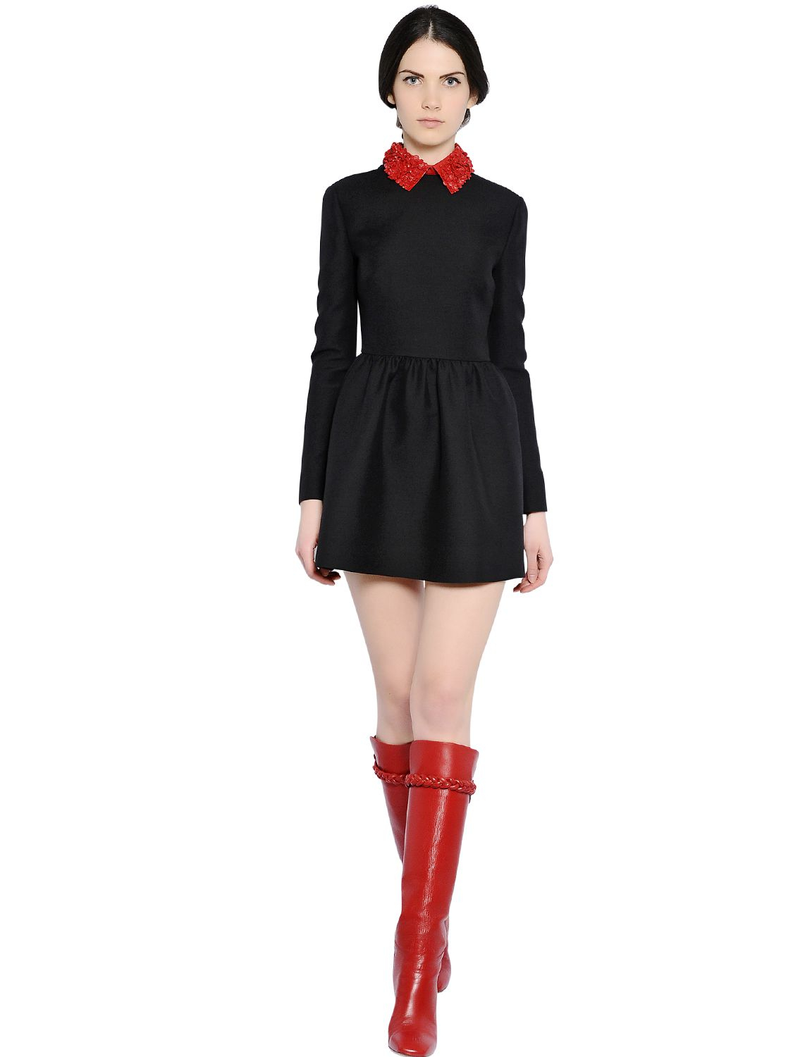Lyst Valentino Nappa Leather Collar On Wool Crepe Dress