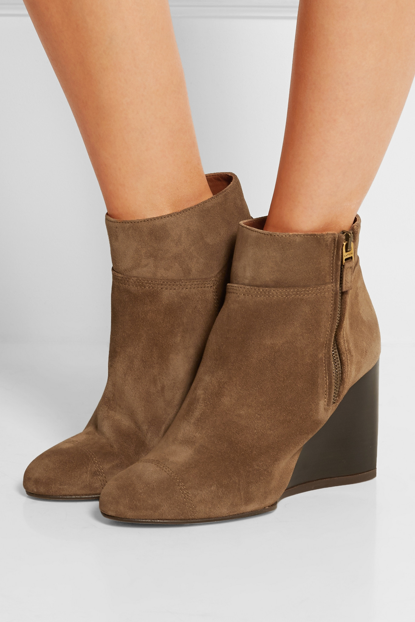 lanvin suede wedge ankle boots in brown lyst