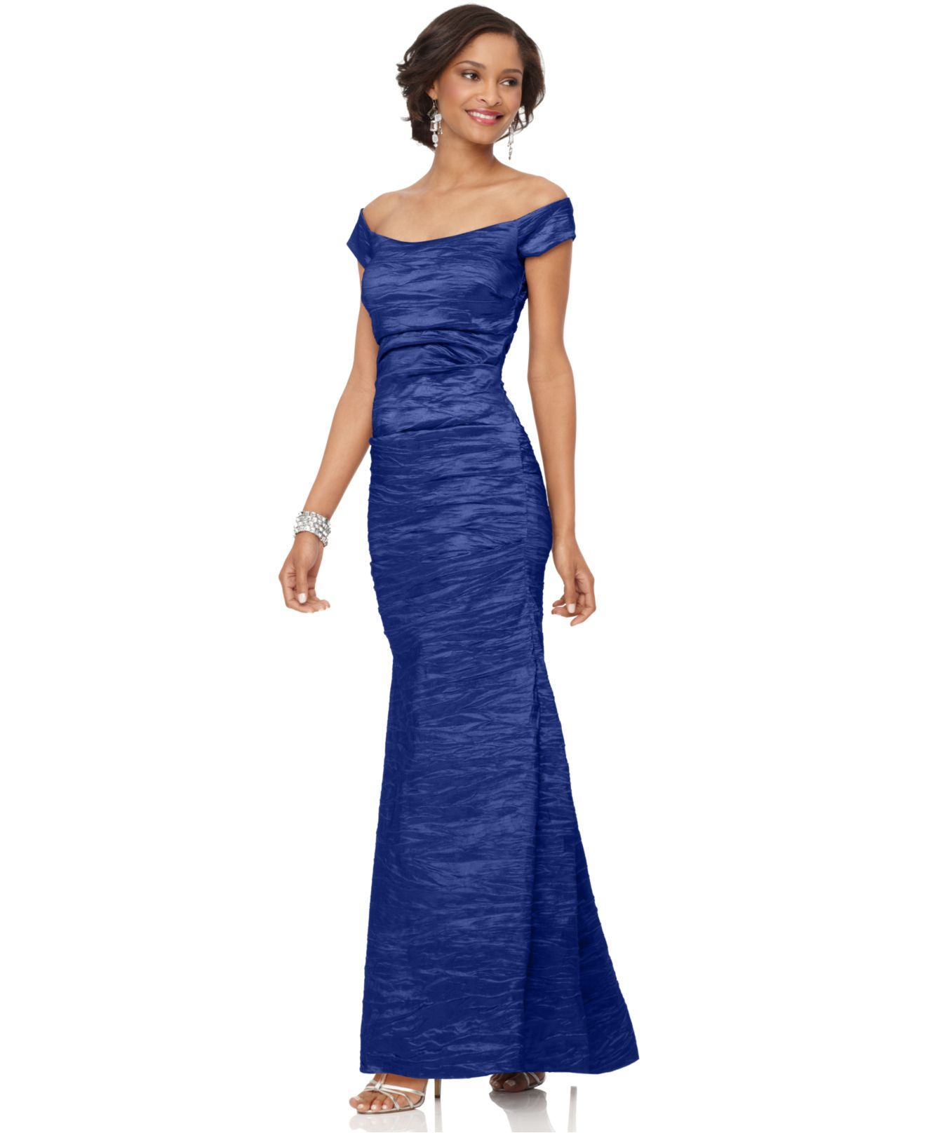 Alex evenings Off-the-shoulder Taffeta Evening Gown in Blue | Lyst