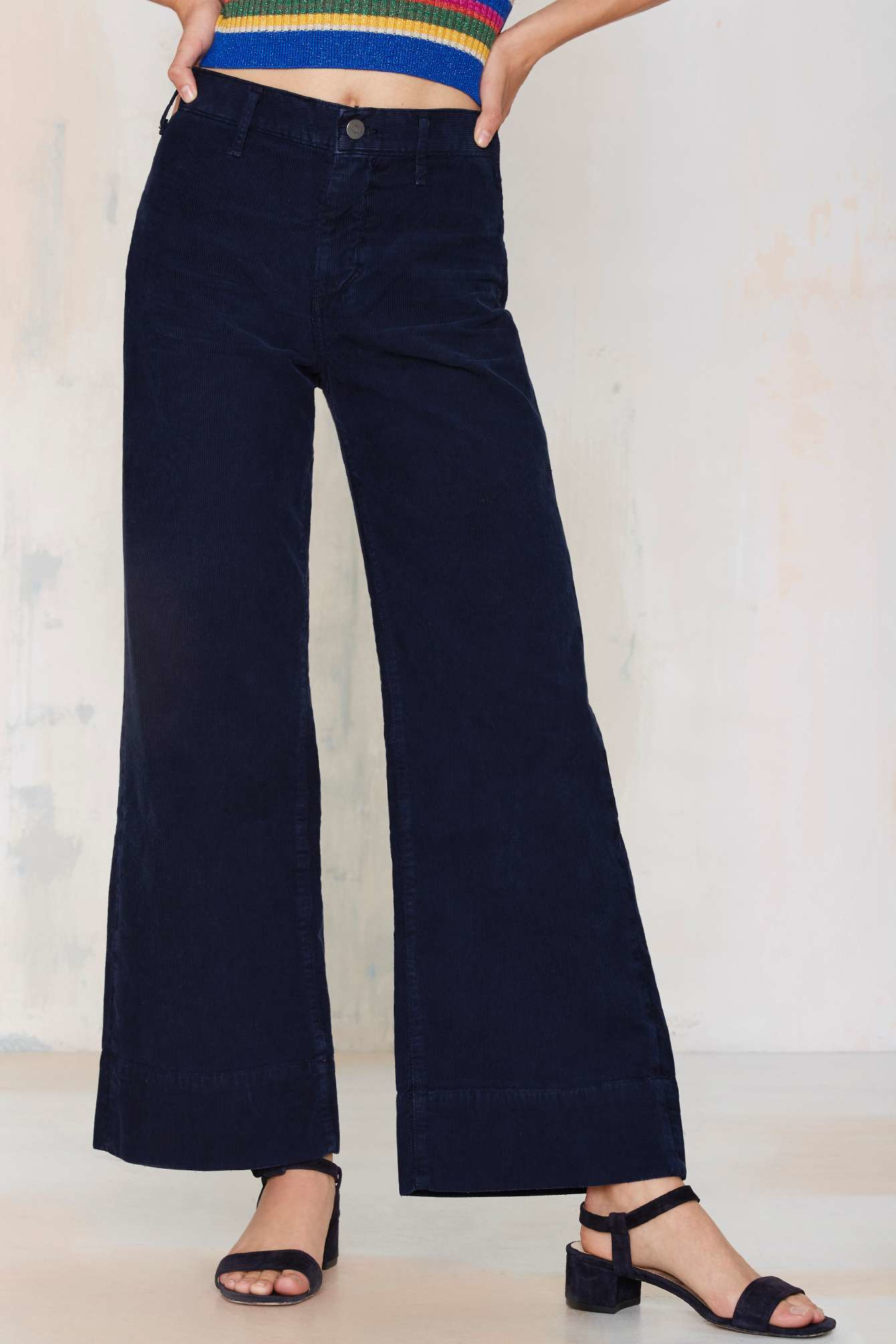Citizens of humanity Abigail Wide Leg Corduroy Pants in Blue | Lyst