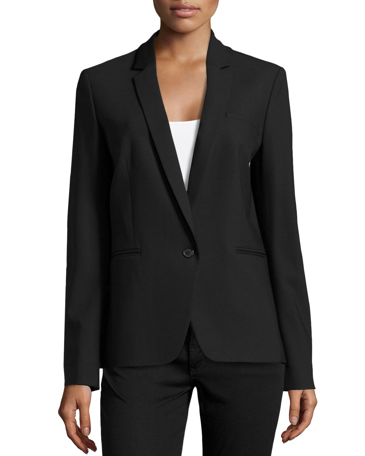 michael kors one button blazer in black lyst. Black Bedroom Furniture Sets. Home Design Ideas