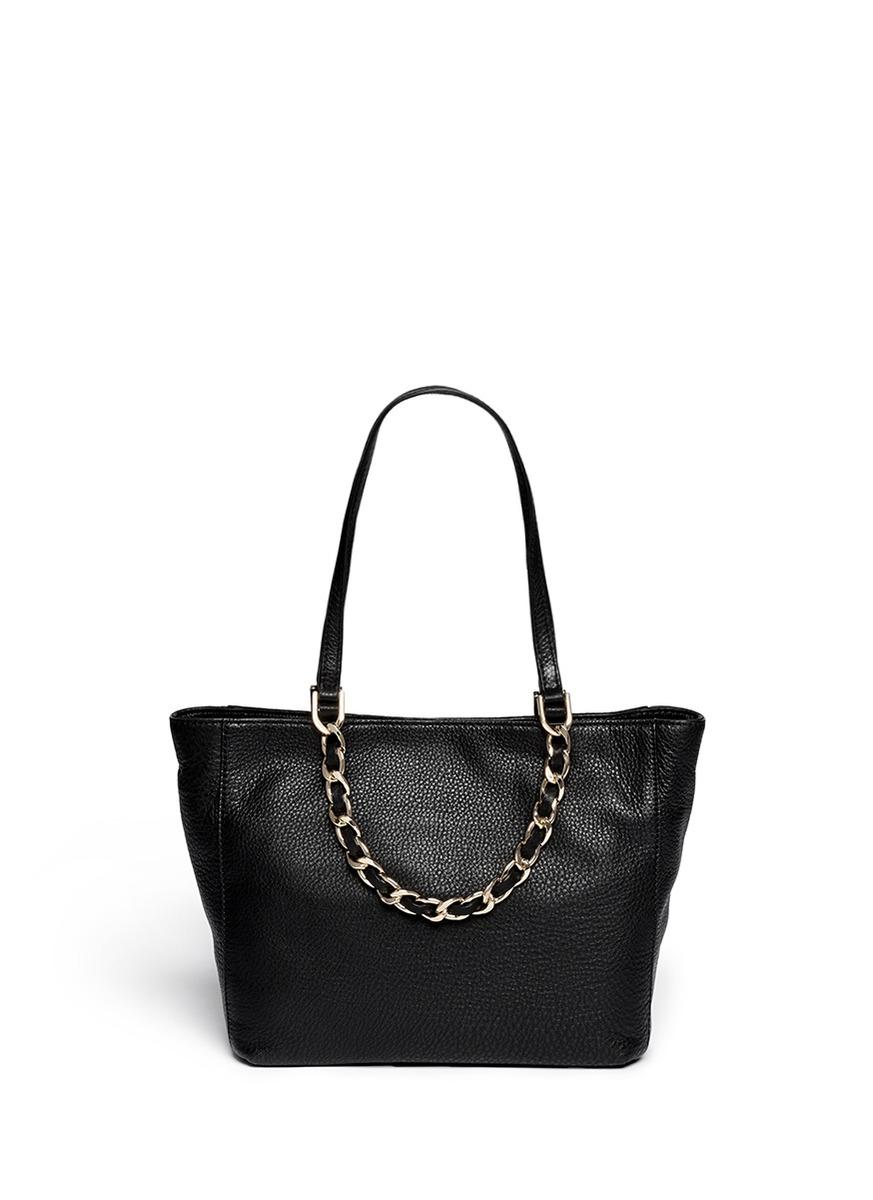 8c506e199d83 Michael Kors Harper Medium Chain Leather Tote in Black - Lyst