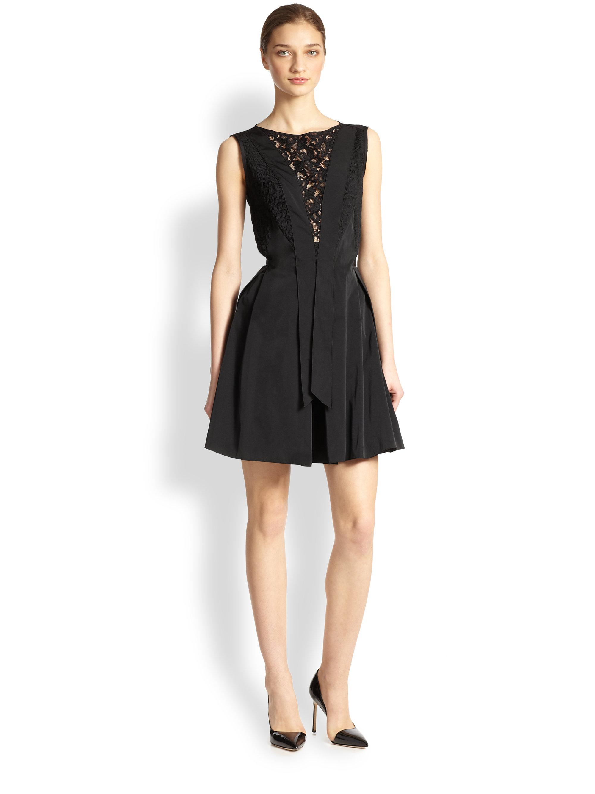 Lyst - Nina Ricci Lace-Inset Short Dress in Black 7819a8286
