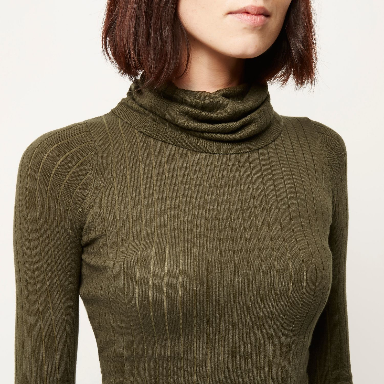 516860a8673 River Island Khaki Knitted Ribbed Roll Neck Jumper in Natural - Lyst