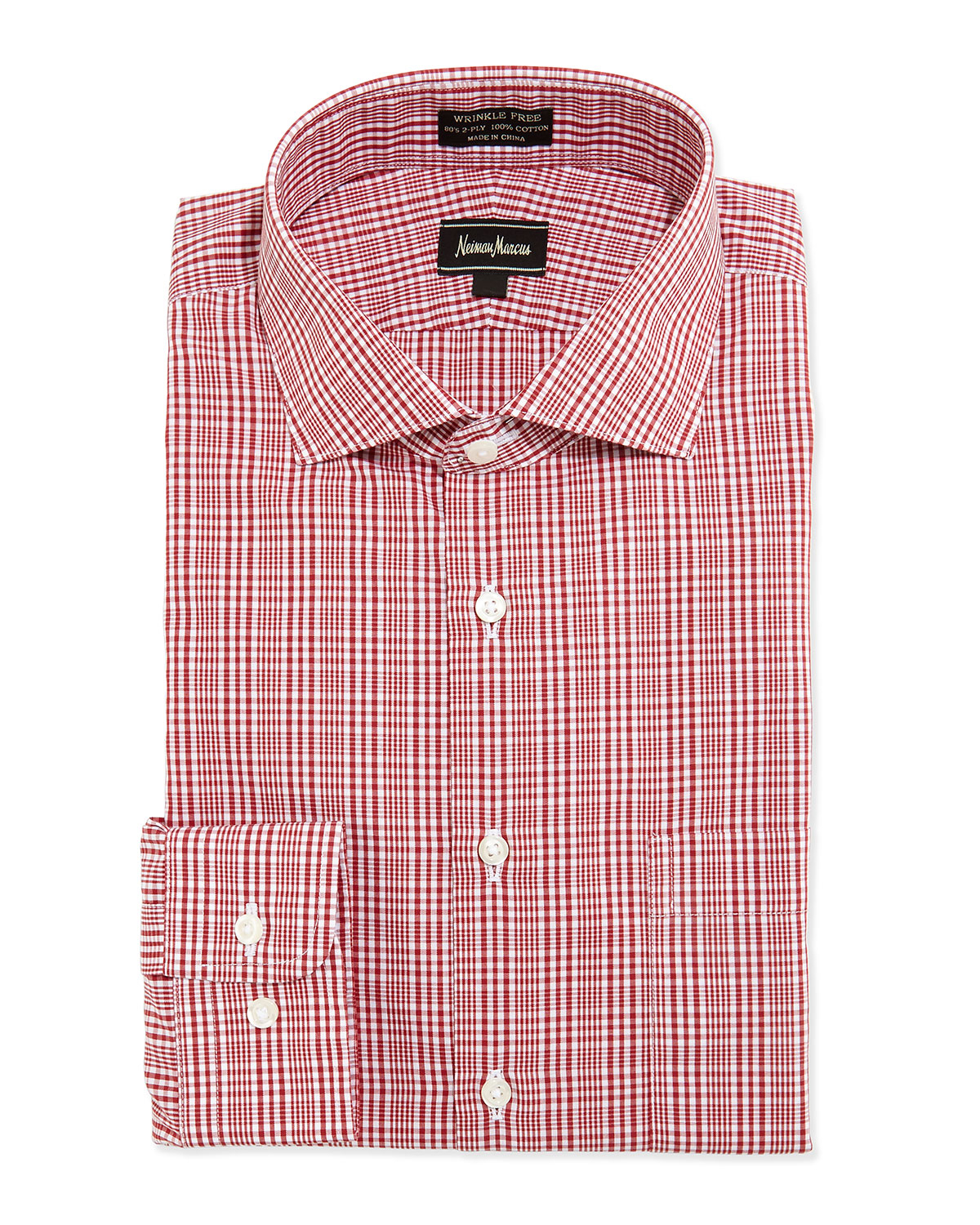 Neiman marcus classic fit non iron plaid dress shirt in for Red plaid dress shirt