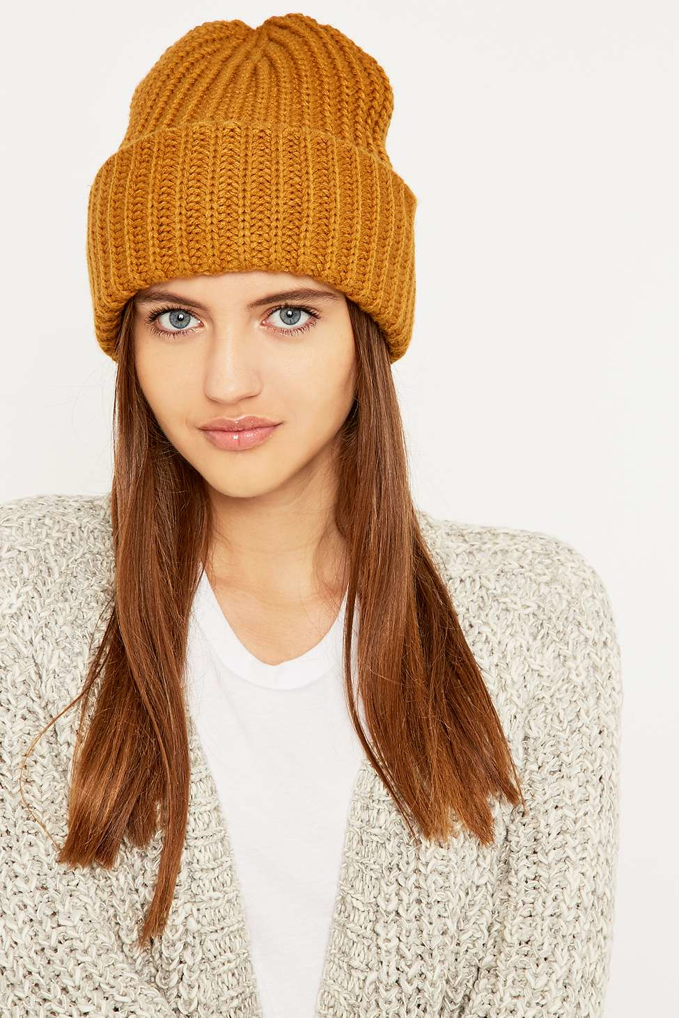 24367e7d5c9 Urban Outfitters Ribbed Stand-up Beanie in Brown - Lyst